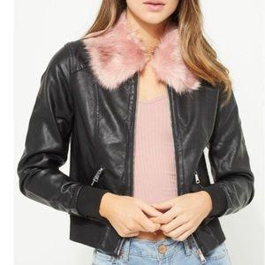 NEW vegan leather Pink fur collar
